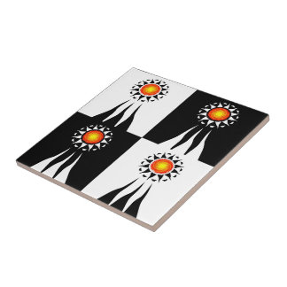 Tribal Sun and Rays Checkerboard Tile