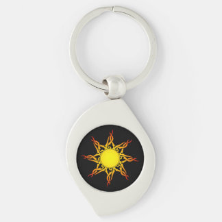 Tribal Sun Keychain Silver-Colored Swirl Key Ring