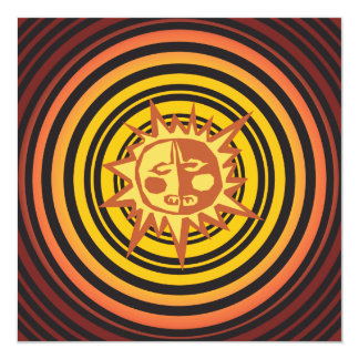Tribal Sun Primitive Caveman Drawing Pattern 13 Cm X 13 Cm Square Invitation Card