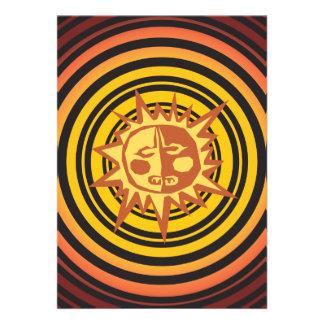 Tribal Sun Primitive Caveman Drawing Pattern Personalized Invitation
