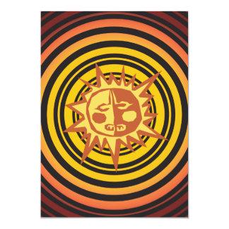 Tribal Sun Primitive Caveman Drawing Pattern 13 Cm X 18 Cm Invitation Card