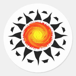 Tribal Sun Round Stickers