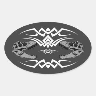 Tribal T-Rex Skulls white Oval Sticker