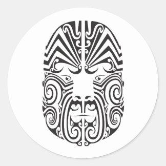 Tribal Tattoo Face Round Sticker