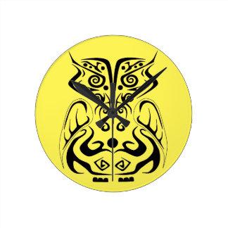 Tribal tattoo owl wall clock