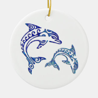 Tribal Tattoo Porpoise Duo Christmas Ornament