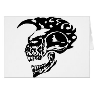 Tribal Tattoo Skull w/ Mohawk Card