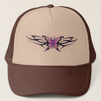 tribal tattoo-style butterfly trucker hat