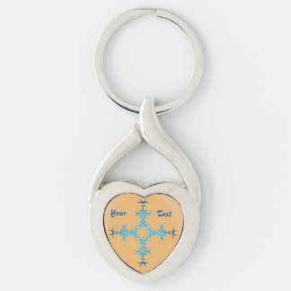 Tribal Tattoo Twisted Heart Metal Keychain NA Silver-Colored Twisted Heart Key Ring