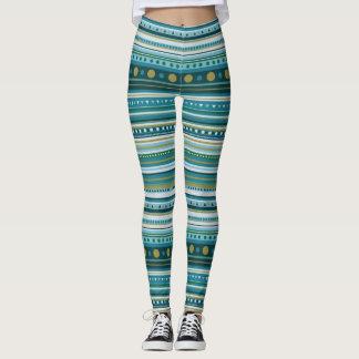 Tribal Teal Blue Pattern Stripes Leggings