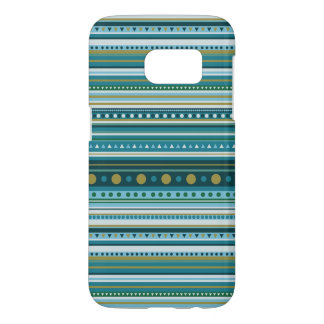 Tribal Teal Blue Stripes Pattern Galaxy S7 Case