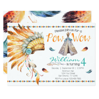 Tribal Teepee Pow Wow Birthday Party Invitation