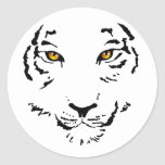 Tribal Tiger Face Classic Round Sticker