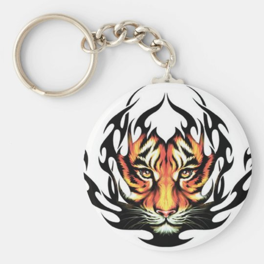 tribal Tiger Tattoo Basic Round Button Key Ring