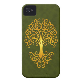 Tribal Tree, Golden Green iPhone 4 Covers