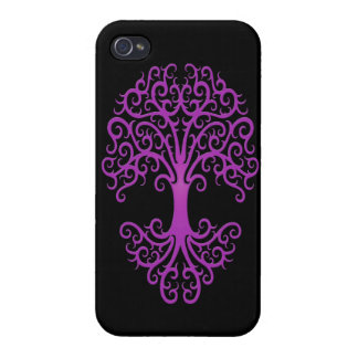 Tribal Tree of Life Purple on Black iPhone 4/4S Case