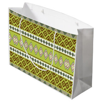 Tribal Triangles in Lime Large Gift Bag