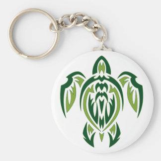Tribal Turtle Basic Round Button Key Ring