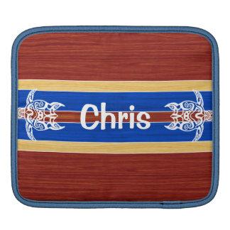 Tribal Turtle Fake Wood Surfboard iPad Sleeve