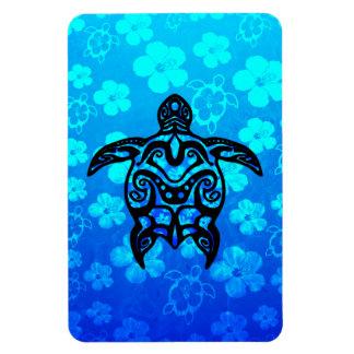 Tribal Turtle Hibiscus Rectangular Magnets
