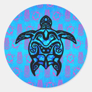 Tribal Turtle Hibiscus Round Sticker