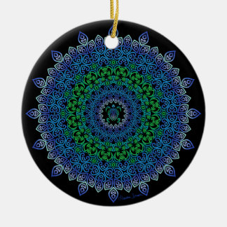 Tribal Turtle Mandala on Black Christmas Ornament