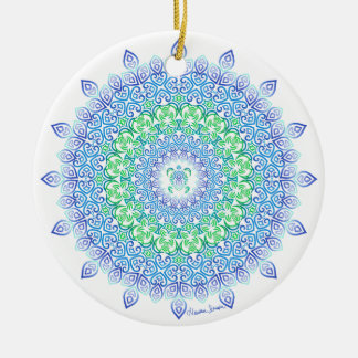 Tribal Turtle Mandala on White Christmas Ornament