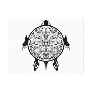 Tribal Turtle Shield Tattoo Canvas Print