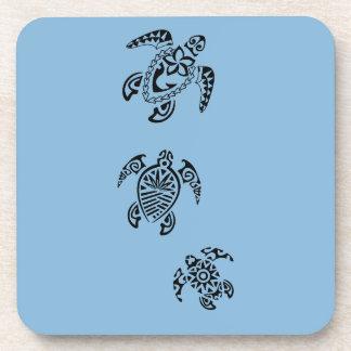 Tribal Turtle Trio Design Beverage Coaster