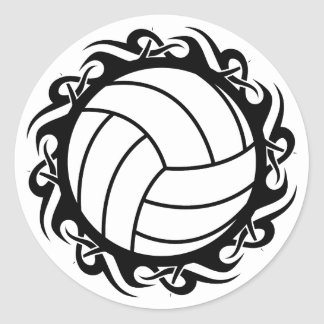 tribal volleyball classic round sticker