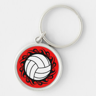 tribal volleyball Silver-Colored round key ring