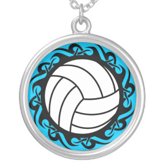 tribal volleyball silver plated necklace