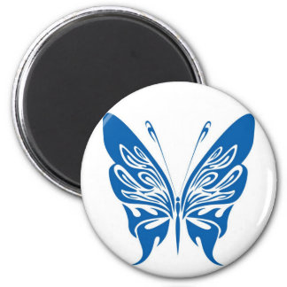 Tribal, White and Dark Blue Butterfly 6 Cm Round Magnet