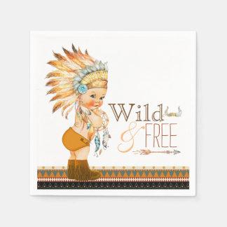 Tribal Wild and Free Boy Baby Shower Paper Napkin