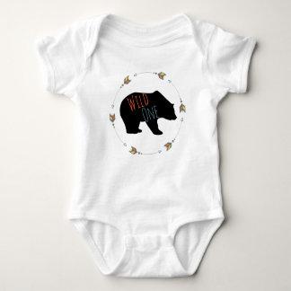 Tribal Wild One Bear First Birthday One Year Old Baby Bodysuit