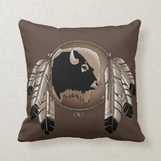 Tribal Wildlife Pillow Native Art Buffalo Pillows