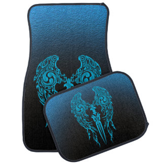 Tribal Wings 1 Cyan Car Mat