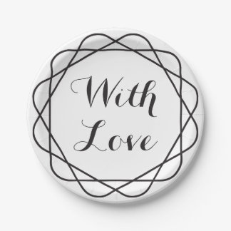 Tribal With Love Black And White Wedding Party Paper Plate