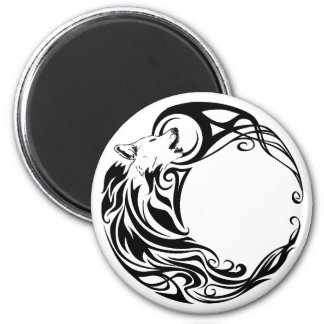 Tribal Wolf 6 Cm Round Magnet