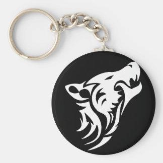 Tribal Wolf Basic Round Button Key Ring