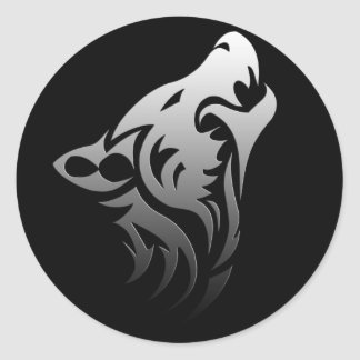 Tribal Wolf Classic Round Sticker