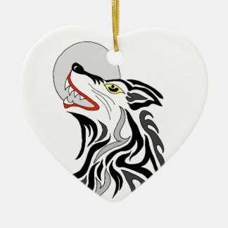 tribal wolf howl at the moon ceramic heart decoration