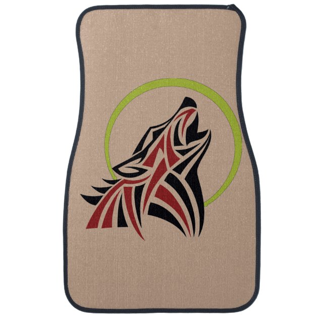 Tribal Wolf Red Black Howling Moon Gold Floor Mat Zazzle