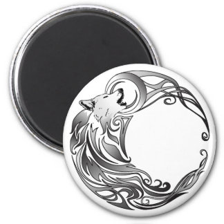Tribal Wolf - Shaded 6 Cm Round Magnet