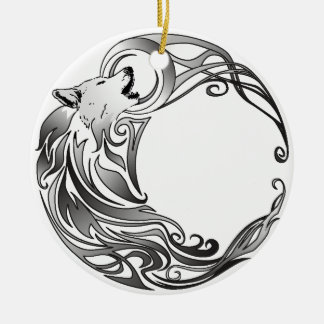 Tribal Wolf - Shaded Christmas Ornament