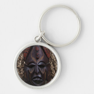 Tribal Wooden Carved Ritual African Mask Brown Red Silver-Colored Round Key Ring