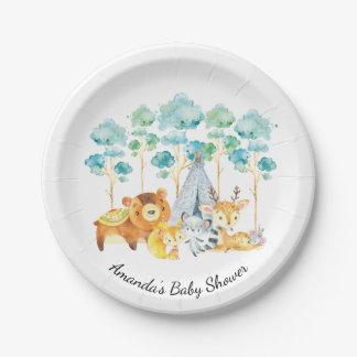 "Tribal Woodland Animals Baby Shower 7"" Plate"