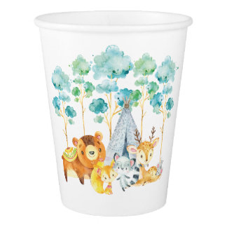 Tribal Woodland Animals Baby Shower Paper Cup