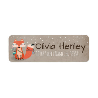 Tribal Woodland Fox Address Label