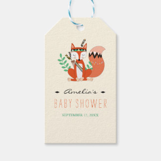 Tribal Woodland Fox Baby Shower Gift Tags